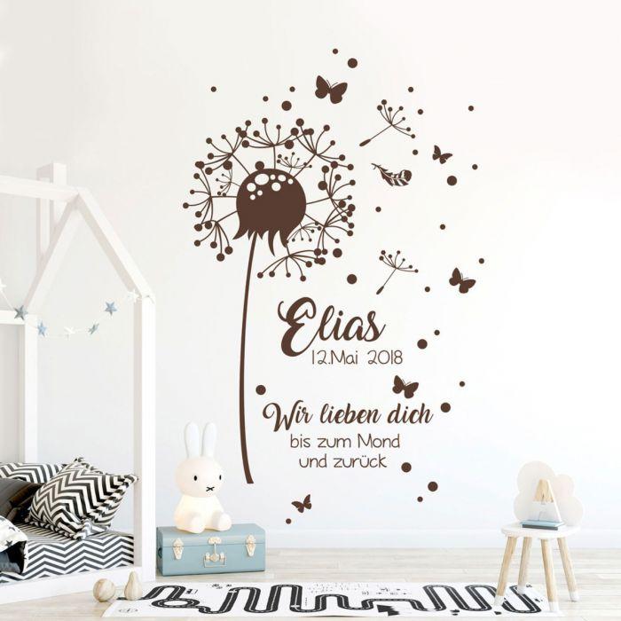 Wandtattoo Pusteblume & Kinderzimmer Deko Wandbild Namen & Datum M2351