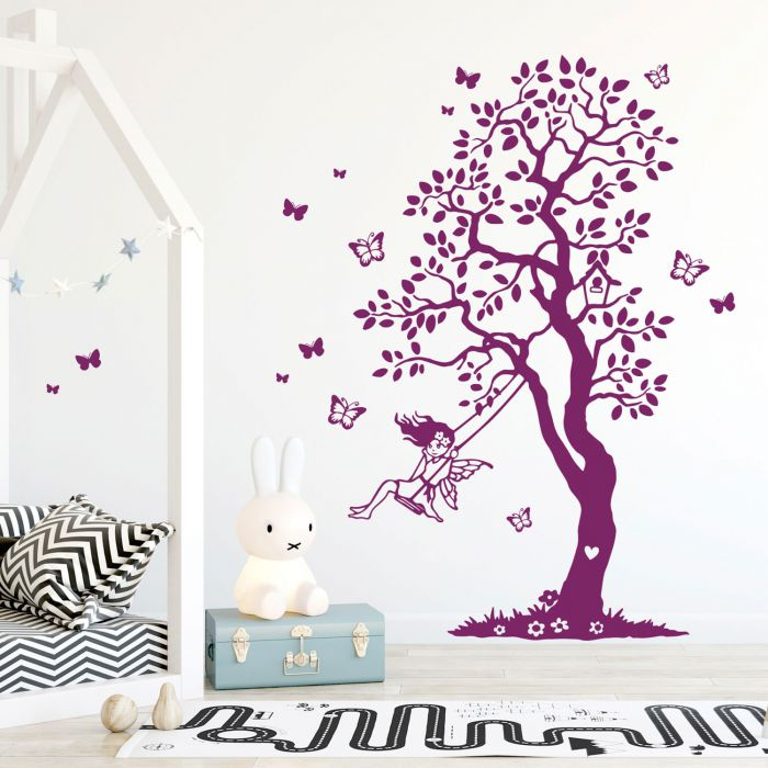 Wandtattoo Baum Elfe Fee Auf Schaukel Schmetterlinge Kinderzimmer Wanddeko Wandgestaltung M2335