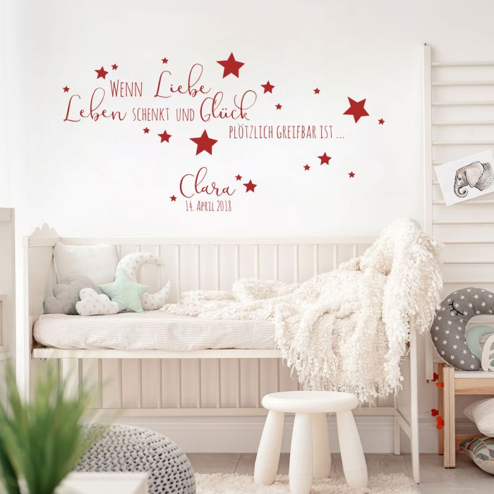 Wandtattoo Baby Geburt Spruch Zitat & Sterne Kinderzimmer Wanddeko  Wandgestaltung mit Namen & Datum M2337