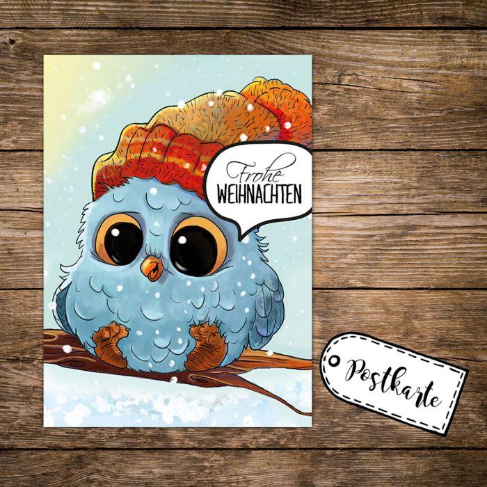 A6 Weihnachtskarte Postkarte Print Mit Eule Eulchen Auf Zweig Spruch Frohe Weihnachten Pk132