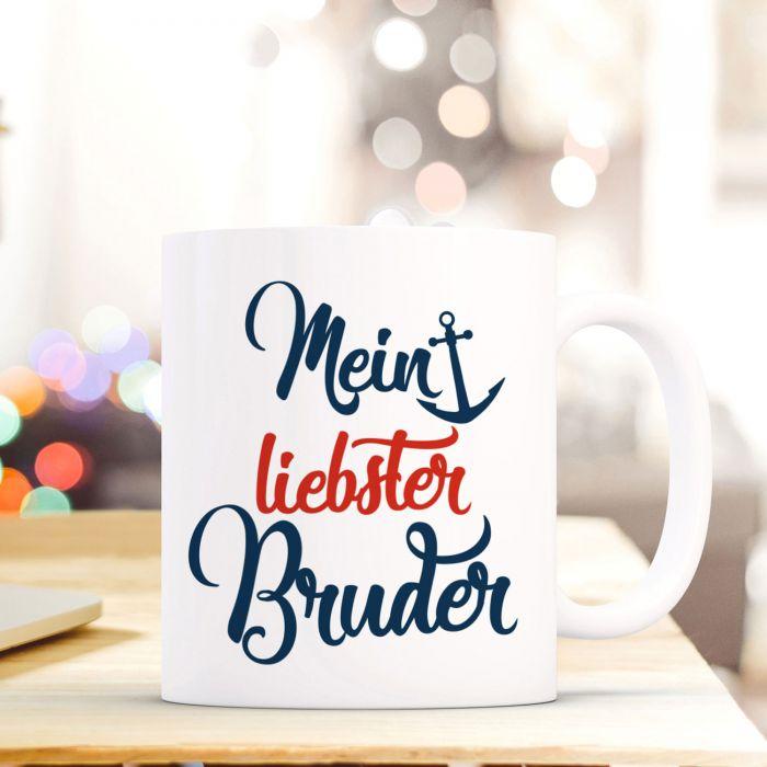 Tasse Becher mit Spruch Mein liebster Bruder Geschenk Kaffeebecher ...