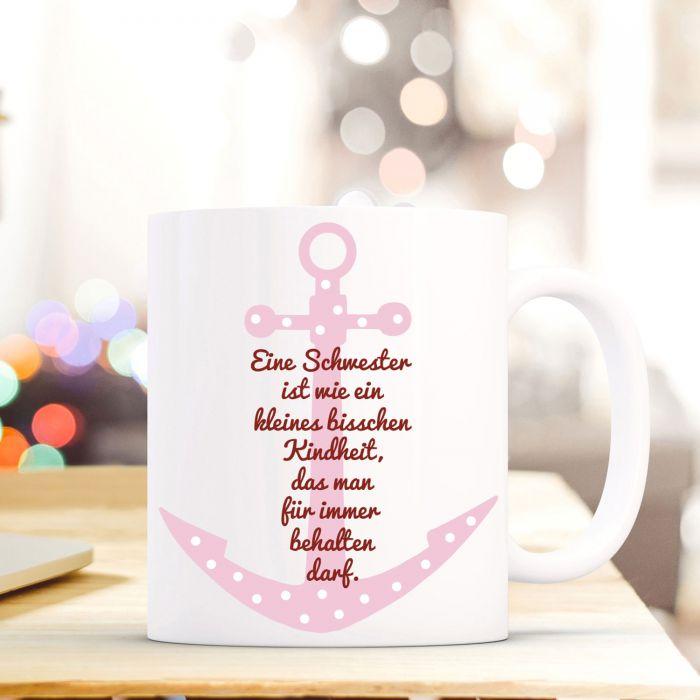 Tasse Becher mit Anker & Spruch \