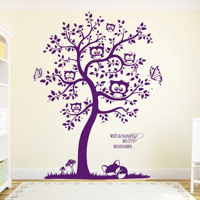 Wandtattoo Eulenbaum Eulen mit Wunschnamen Schmetterlinge Fuchs  Fliegenpilze und Punkte M1592
