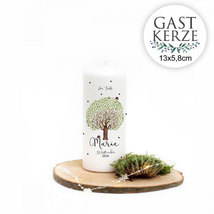 Taufkerze Kerze Zur Taufe Baum Marienkäfer Wunschname Spruch Wk125