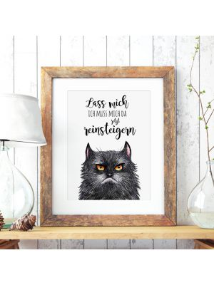 A3 Print Illustration Poster Plakat Katzenplakat Katzenposter Katze mit Spruch lass mich, ich muss mich da jetzt reinsteigern A3 print illustration poster placard cat with quote saying let me, I must now excite myself p58