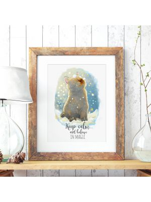 A3 Print Illustration Poster Plakat Katzenplakat Katzenposter Katze Kätzchen im Winter mit Schnee Schneeflocken und Spruch keep calm and believe in magic A3 print illustration poster placard cat in winter with snow flakes and quote saying keep calm and be