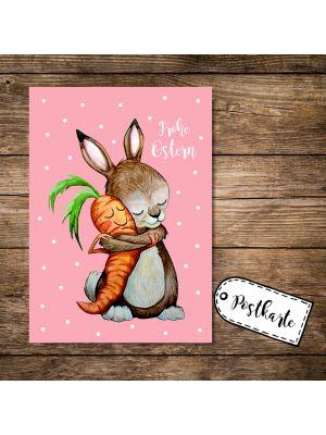 A6 Postkarte Grußkarte Karte Print Illustration Hase und Möhre mit Spruch Frohe Ostern pk84