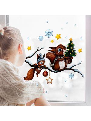 Fensterbild Weihnachten Eichhörnchen Fensterbilder wiederverwendbar bf143