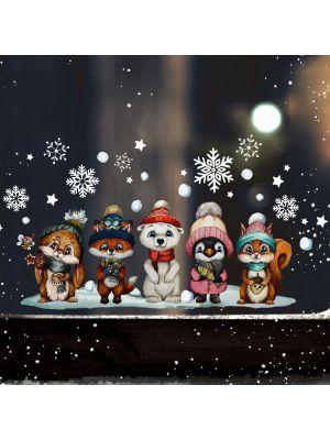 Fensterbild Weihnachten Tierkinder Fensterbilder wiederverwendbar bf145