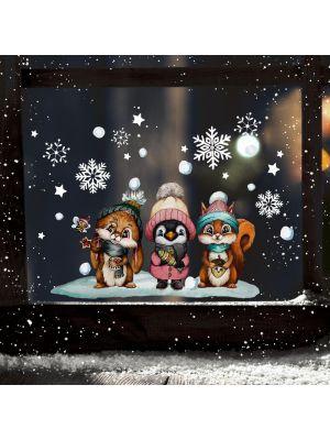 Fensterbild Weihnachten Hase Pinguin Tierkinder Fensterbilder wiederverwendbar bf146