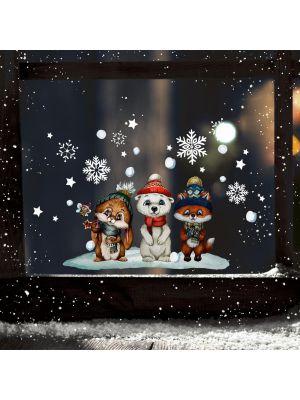Fensterbild Weihnachten Hase Eisbär Fuchs wiederverwendbar Fensterbilder bf147