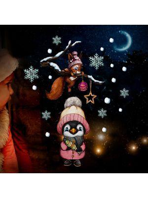 Fensterbild Weihnachten Pinguin wiederverwendbar Fensterbilder bf148