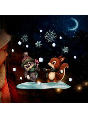 Fensterbild Fensterbilder Weihnachten Schneeballschlacht wiederverwendbar bf149