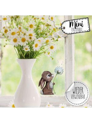 Mini-Fensterbild Hase Pusteblume -wiederverwendbar- Deko Fensterbilder bf21mini