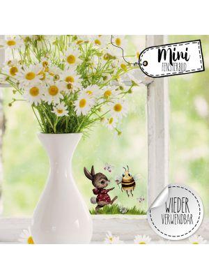 Mini-Fensterbild Hase & Biene -wiederverwendbar- Deko Fensterbilder bf24mini