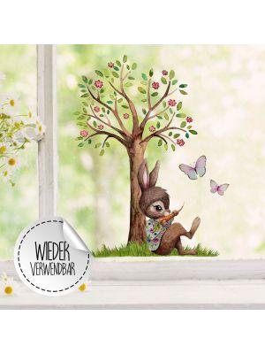 Fensterbild Hase mit Baum -WIEDERVERWENDBAR- Fensterdeko Fensterbilder bf25