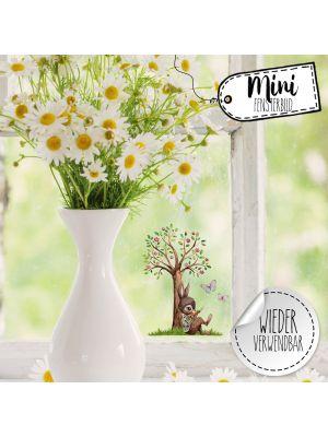 Mini-Fensterbild Hase mit Baum -wiederverwendbar- Deko Fensterbilder bf25mini
