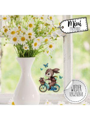 Mini-Fensterbild Hase auf Fahrrad -wiederverwendbar- Deko Fensterbilder bf27mini