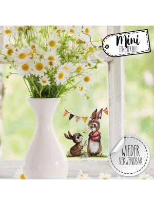 Mini-Fensterbild Hasen mit Wimpel -wiederverwendbar- Deko Fensterbilder bf28mini