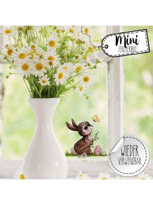 Mini-Fensterbild Hase mit Ostereier -wiederverwendbar- Deko Fensterbilder bf30mini