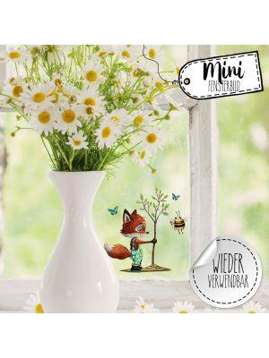 Mini-Fensterbild Fuchs Baum & Biene -wiederverwendbar- Deko Fensterbilder bf31mini