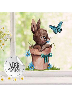 Fensterbild Hase im Blumentopf -WIEDERVERWENDBAR- Fensterdeko Fensterbilder bf32