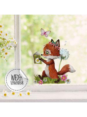 Fensterbild Fuchs Pusteblume wiederverwendbar Deko Fensterbilder bf35