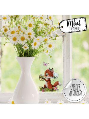 Mini-Fensterbild Fuchs Pusteblume wiederverwendbar Deko Fensterbilder bf35mini