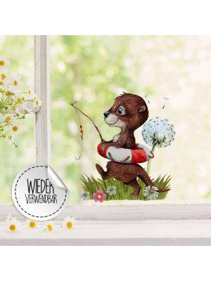 Fensterbild Otter angelt Pusteblume wiederverwendbar Deko Fensterbilder bf37