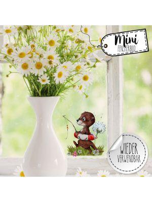 Mini-Fensterbild Otter angelt Pusteblume wiederverwendbar Deko Fensterbilder bf37mini