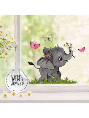 Fensterbild kleiner Elefant Schmetterlinge Fensterbilder wiederverwendbar bf47