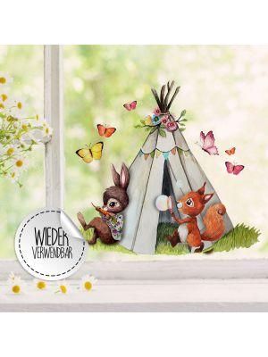 Fensterbild Eichhörnchen Zelt Schmetterlinge Fensterbilder wiederverwendbar bf48