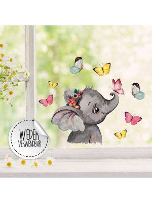 Fensterbild Elefant Kopf Schmetterlinge Fensterbilder wiederverwendbar bf49