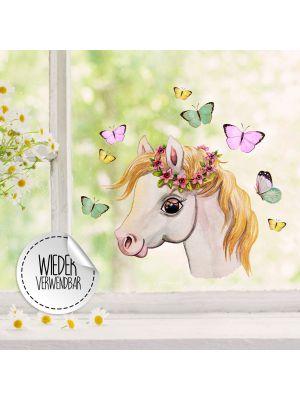 Fensterbild Pferdchen Kopf Schmetterlinge Fensterbilder wiederverwendbar bf50