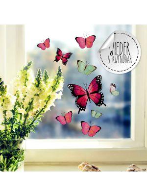Fensterbild Schmetterlinge rosa pink grün wiederverwendbar Fensterbilder bf53