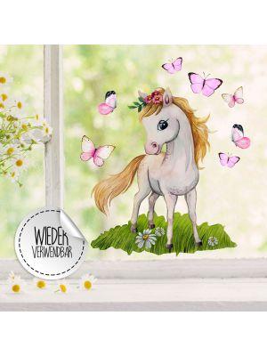 Fensterbild Pferd stehend Schmetterlinge  Fensterbilder wiederverwendbar bf54