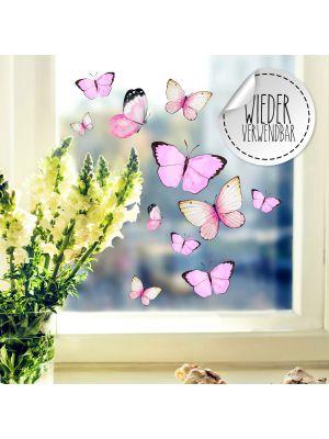 Fensterbild Schmetterlinge rosa wiederverwendbar Fensterbilder Fensterdeko Frühling bf55
