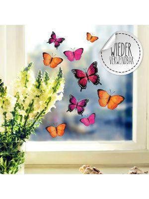 Fensterbild Schmetterlinge pink orange lila wiederverwendbar Fensterbilder bf57