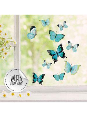 Fensterbild Schmetterlinge blau wiederverwendbar Fensterbilder Fensterdeko Frühling bf59