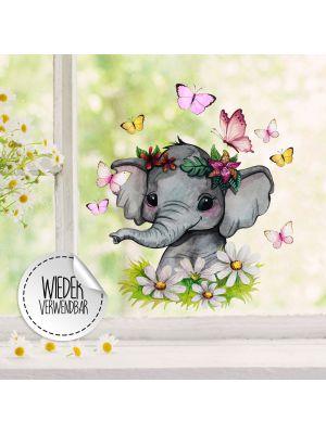 Fensterbild Elefant Blumen Schmetterlinge Fensterbilder wiederverwendbar bf61