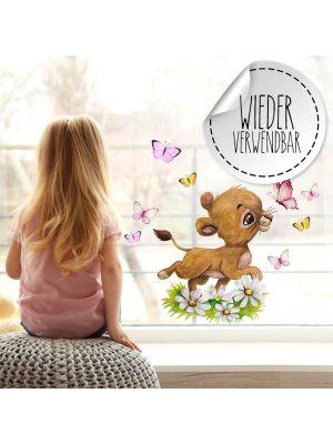 Fensterbild Löwe Löwenbaby Fensterbilder wiederverwendbar Blumen Schmetterlinge bf63