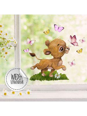 Fensterbild Löwe Mädchen Schmetterlinge Fensterbilder wiederverwendbar bf64