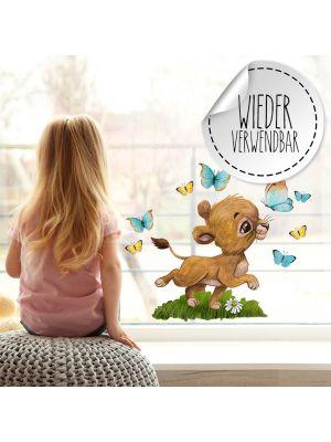 Fensterbild Löwe Junge Schmetterlinge Fensterbilder wiederverwendbar bf65