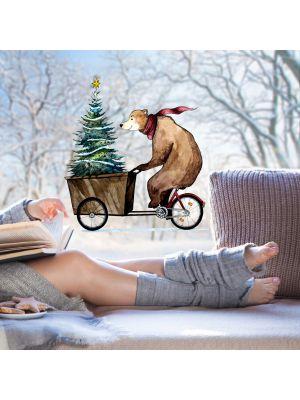 Fensterbild Bär Fahrrad Weihnachtsbaum wiederverwendbar bf7