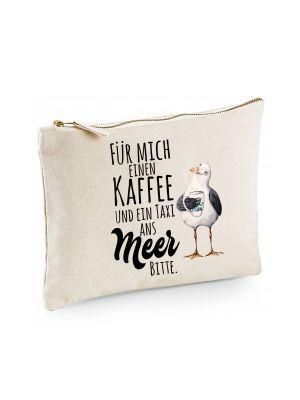 Canvas Pouch Tasche Möwe mit Pott Tasse & Spruch Kaffee ein Taxi ans Meer cl11