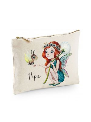 Canvas Pouch Tasche Elfe Fee & Name Wunschname Kulturbeutel individuell bedruckt cl19