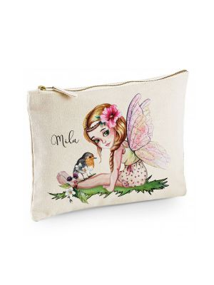 Canvas Pouch Tasche Fee Elfe & Vogel individuell bedruckt Name Wunschname Kulturbeutel cl20