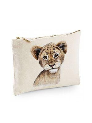 Canvas Pouch Tasche mit Löwe Waschtasche Kulturbeutel individuell bedruckt cl25