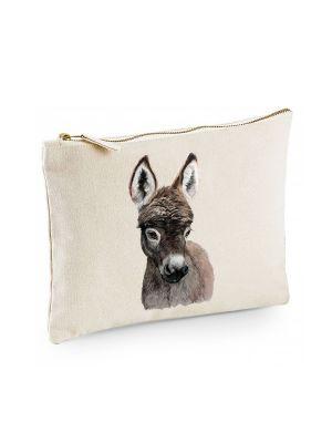 Canvas Pouch Tasche mit Esel Waschtasche Kulturbeutel individuell bedruckt cl28