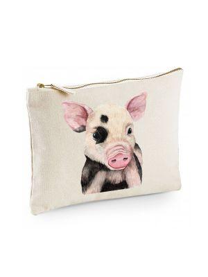 Canvas Pouch Tasche mit Schweinchen Waschtasche Kulturbeutel individuell bedruckt cl29